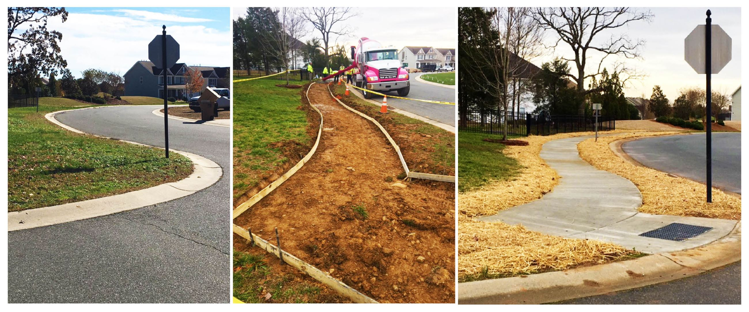 Sidewalk work progression image