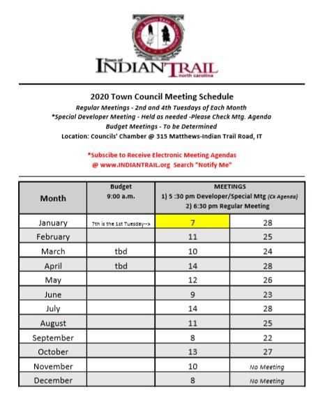 2020 Town Council Meeting Schedule